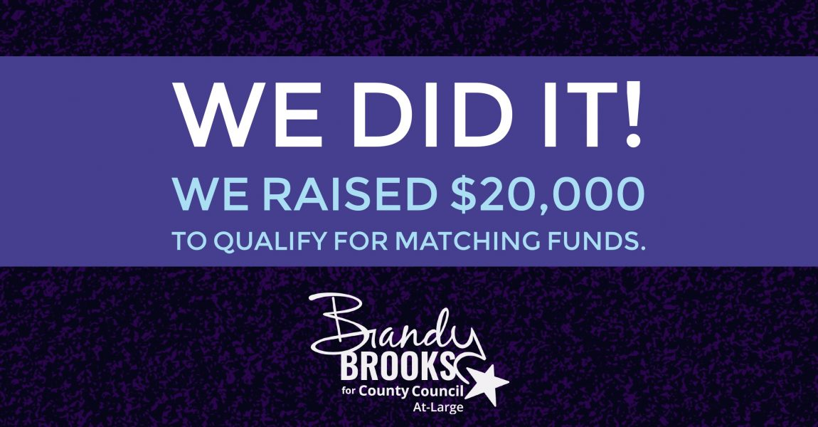 Brandy Brooks Reaches $20,000 Threshold for Matching Public Funds